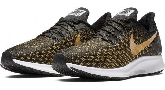 Tenis Nike Air Zoom Pegasus 35 Negro Dorado Mujer Run Meses