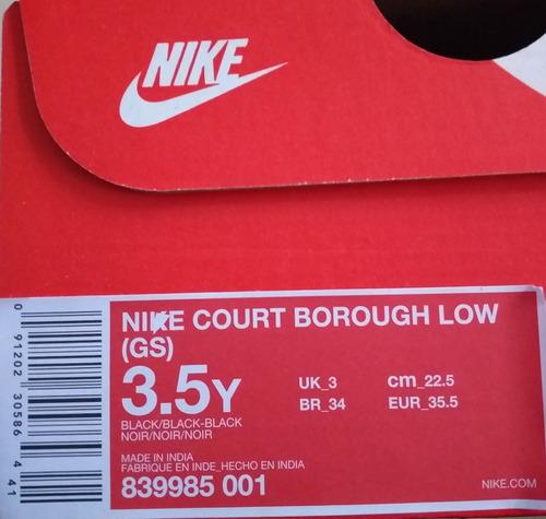 tenis nike court borough low originales #22.5 mx