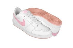 12979e09 Tenis Nike En Piel Blanca Y Rosa Nuevos #25.5