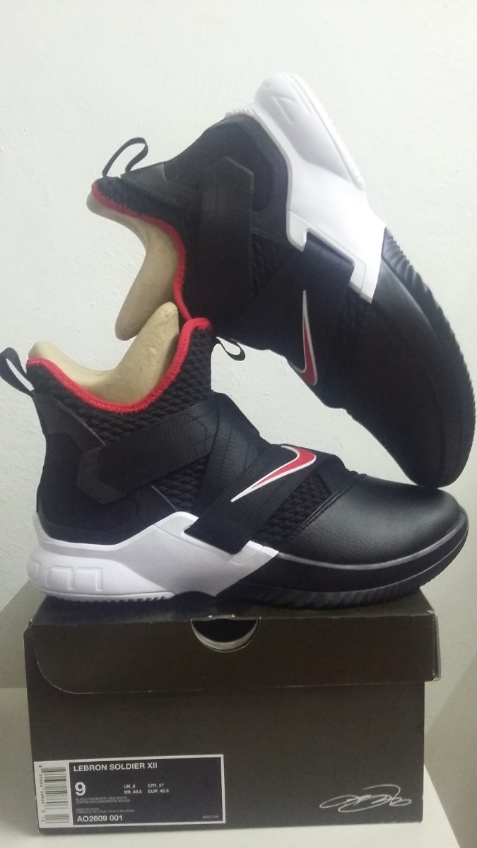 quite nice a5aa8 ce2c2 Tenis Nike Lebron Soldier 12 Bred Única Talla 27cm-7mex9usa