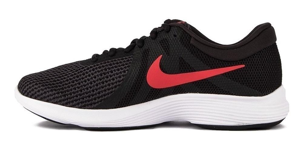 Nike Revolution 4 EU Black Red Oil Negro Rojo Hombre