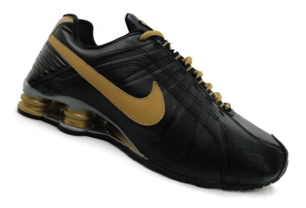 newest bf3a1 6c635 Tenis Nike Shox Junior Preto E Dourado Nº37 Ao 44 Original!