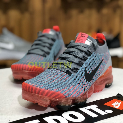 tenis nike vapormax flyknit 2019 original gray orange