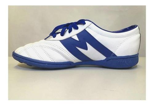 tenis para futbol rapido manriquez blanco/azul ¡envio gratis
