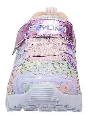 tenis para niñas con luces detalle holográfico