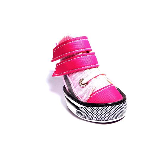 tenis para perros raza mediana tipo velcro-rosado