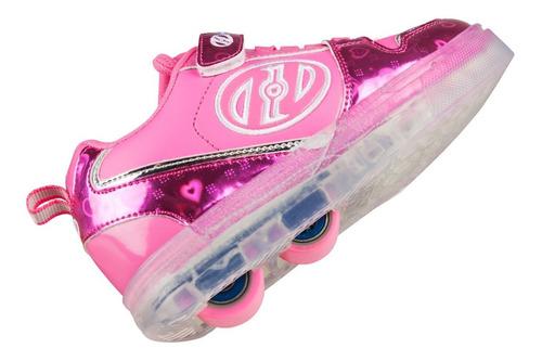 tenis patín heelys niña rosa reflejante con luz led en suela