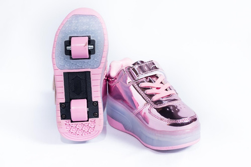 tenis patín led niños. rosa, lila, dorado, azul.