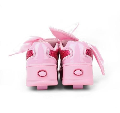tenis patín onix para niña alas lentejuela con moño rosa