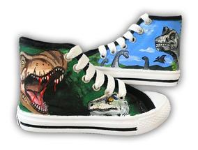 Tenis Pintado A Mano Dinosaurios 05 Personalizado
