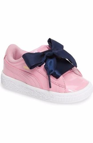 tenis puma basket heart rosa para niña num 20