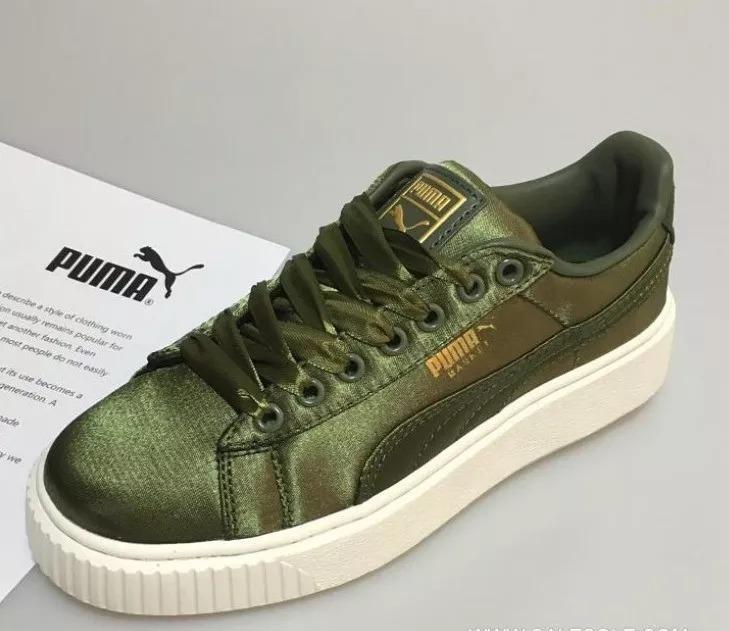 uk availability 9eb93 8ca9b Tenis Puma Basket Platform Satin Verde Talla 22.5cm(amplios)