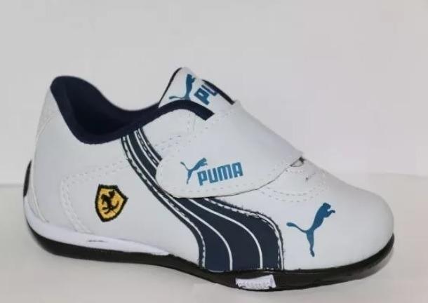 681e47bc8c5 Tenis Puma Branco Com Azul Ferrari Velcro Menino Bebê Neném - R  68 ...