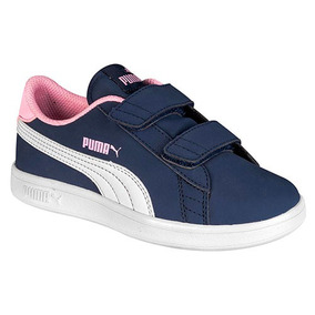 b221c787db120 Tenis Puma Casual Smash Sfoam Velcro Mujer Azul W15338 Dtt