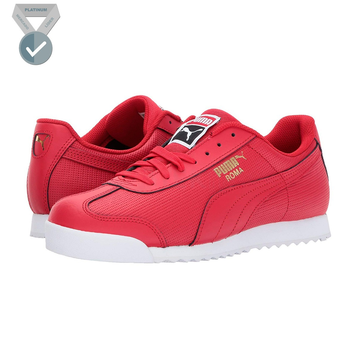 9969ef01345 tenis puma roma basico perf jr casual urbano en color rojo. Cargando zoom.