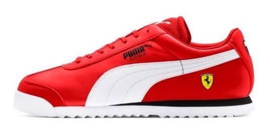 Tenis Puma Roma Rojo-blanco Piel Caballero
