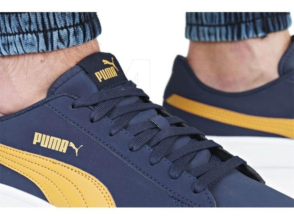 Tenis Puma Smash V2 Azul/amarillo Hombre Original 36516002