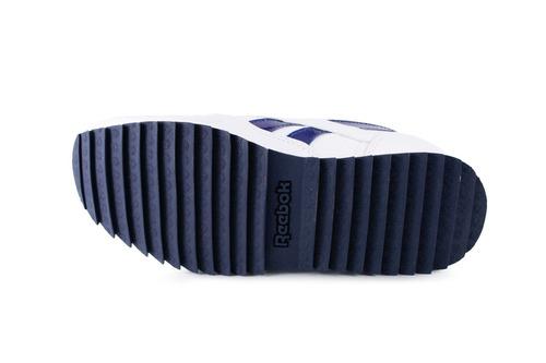 tenis reebok classic leather - blanco con azul bd2546