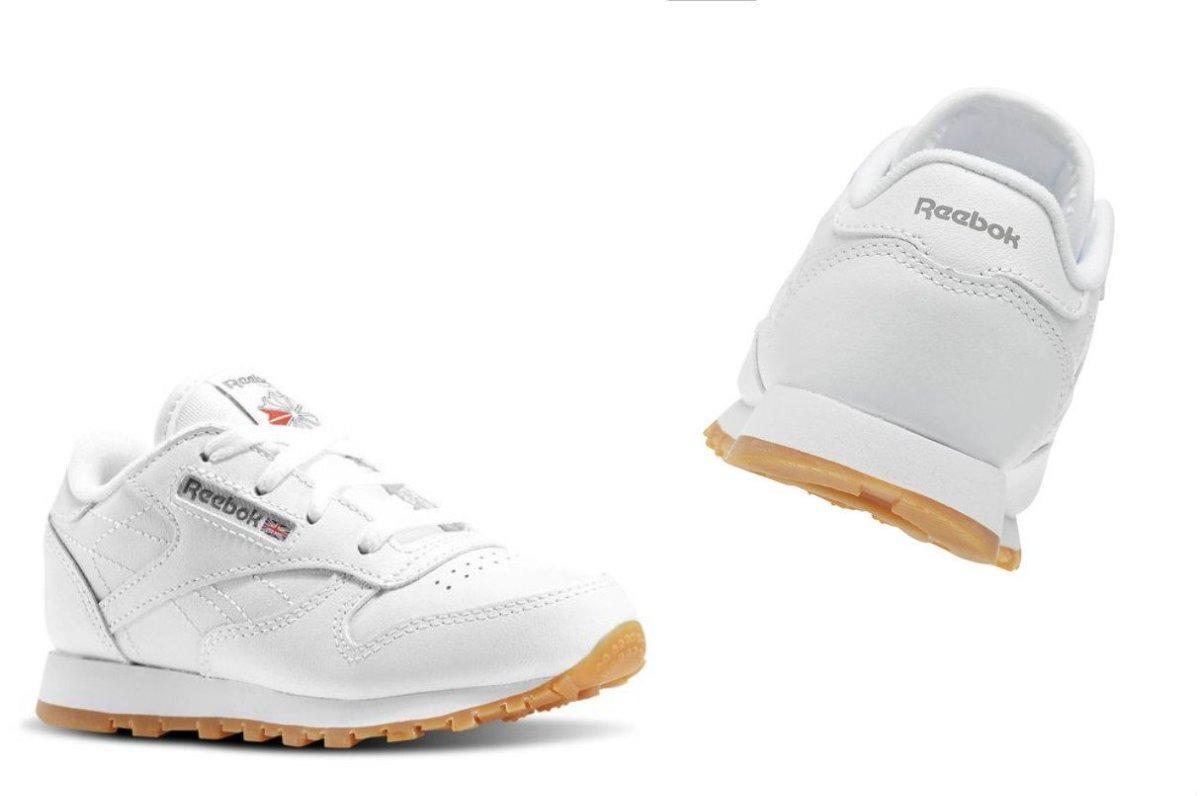 def8d595175 tenis reebok classic leather blanco infantil niño 2018. Cargando zoom.