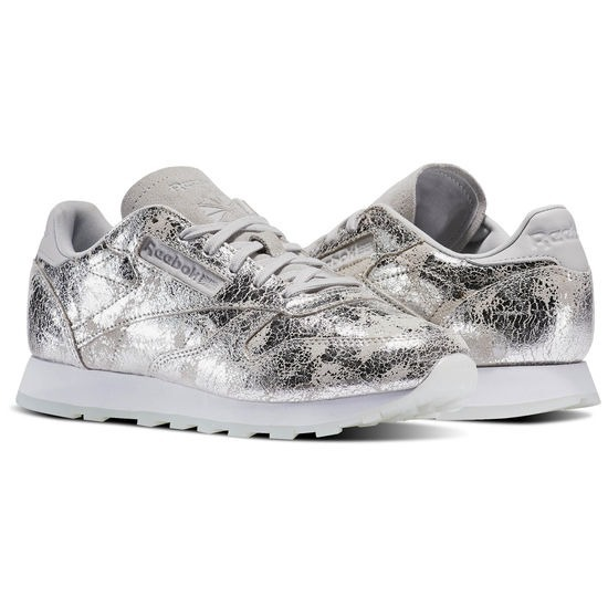 f918bdfc4e0 Tenis Reebok Classic Leather Dynamic Chrome Gris Plata Mujer ...