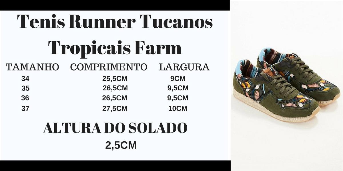 321fc67b0 tenis runner tucanos tropicais farm. Carregando zoom.