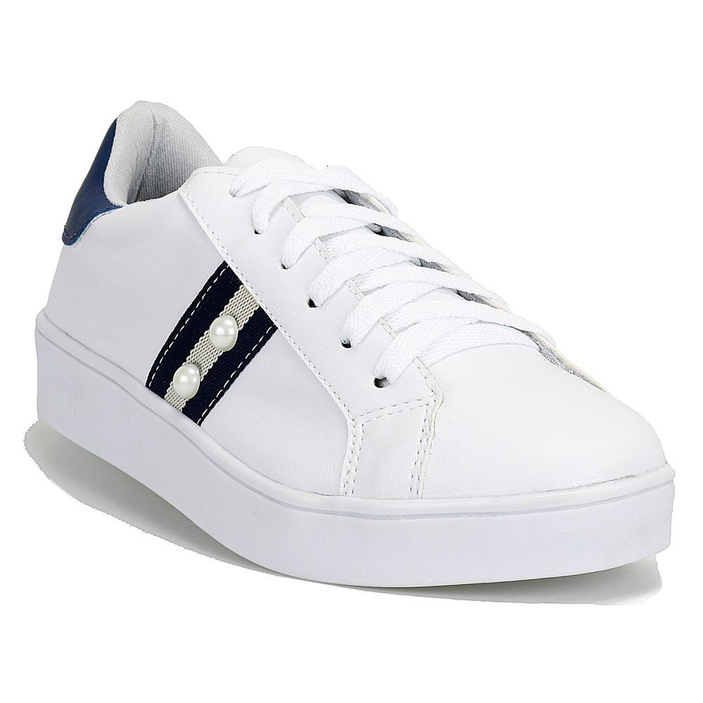 6c122e3cc6 tenis sapatenis feminino bordado branco prata confortável dh. Carregando  zoom.