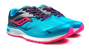 Tenis Saucony Ride9 Para Correr Color Azul Rosa Para Mujer