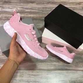 Tenis Zapatillas Skechers Lite Weight Rosada Blanca Mujer