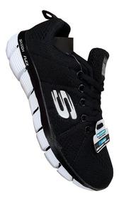 zapatillas skechers negras para mujer grises