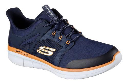 tenis skechers synergy 2.0 chekwa azul marino/naranja hombre