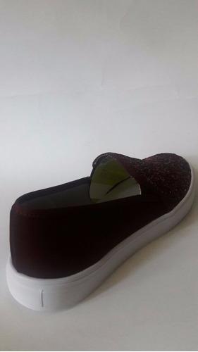 tenis slip glitter on guinda sneakers brillosos vino