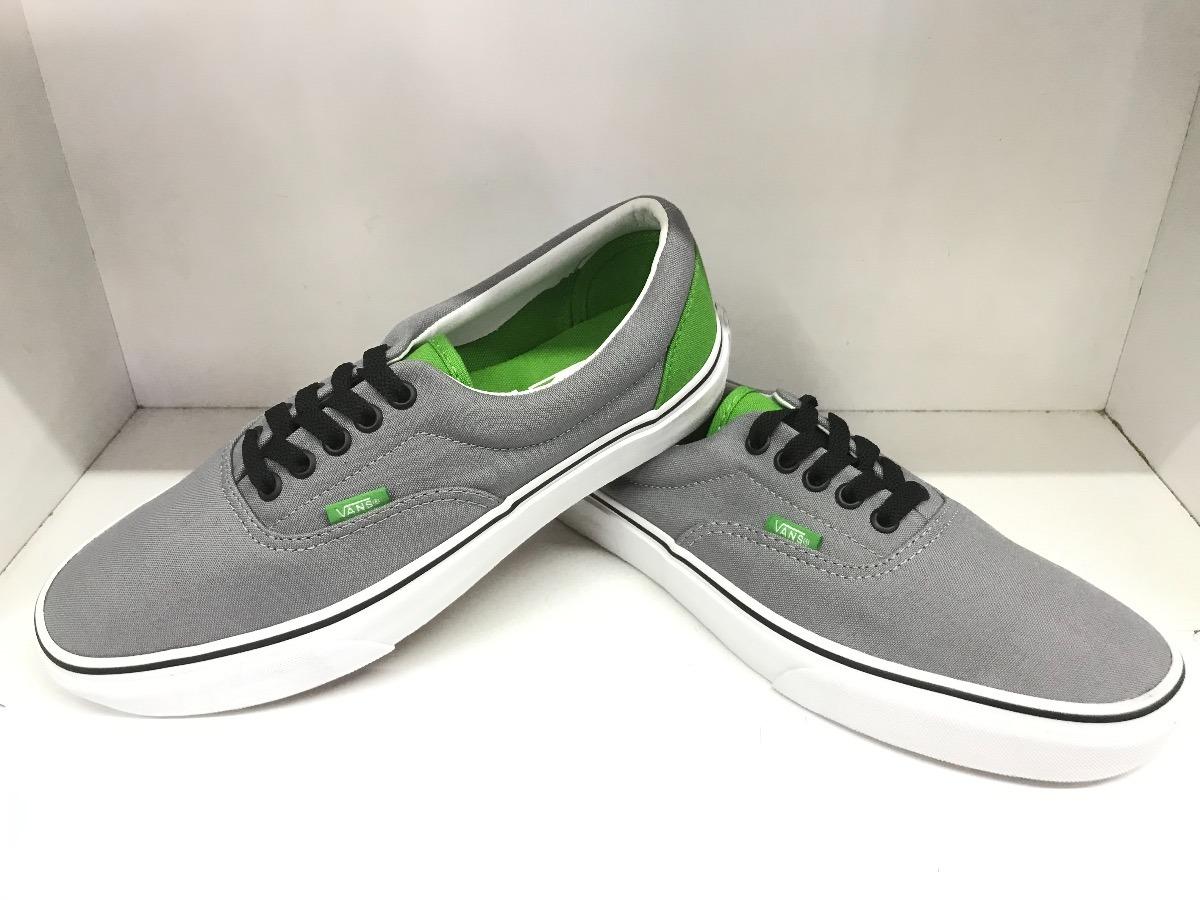 tenis vans grises con verde