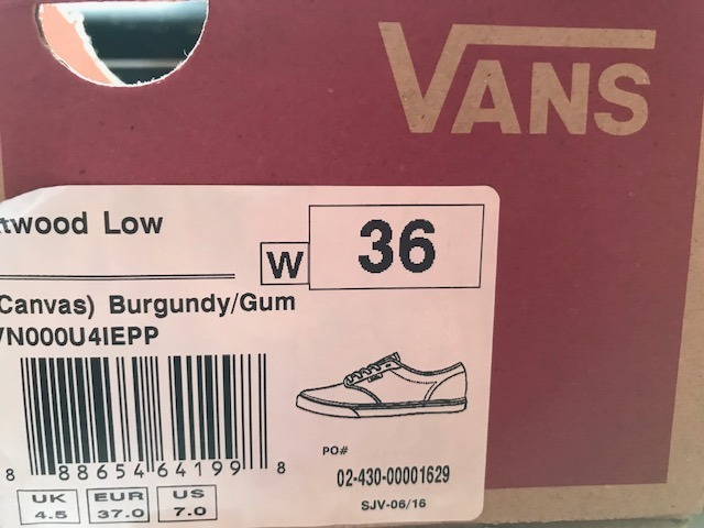 5250492994 Tenis Vans Canvas Burgundy Gum Vinho Feminino 36 Novo - R  170