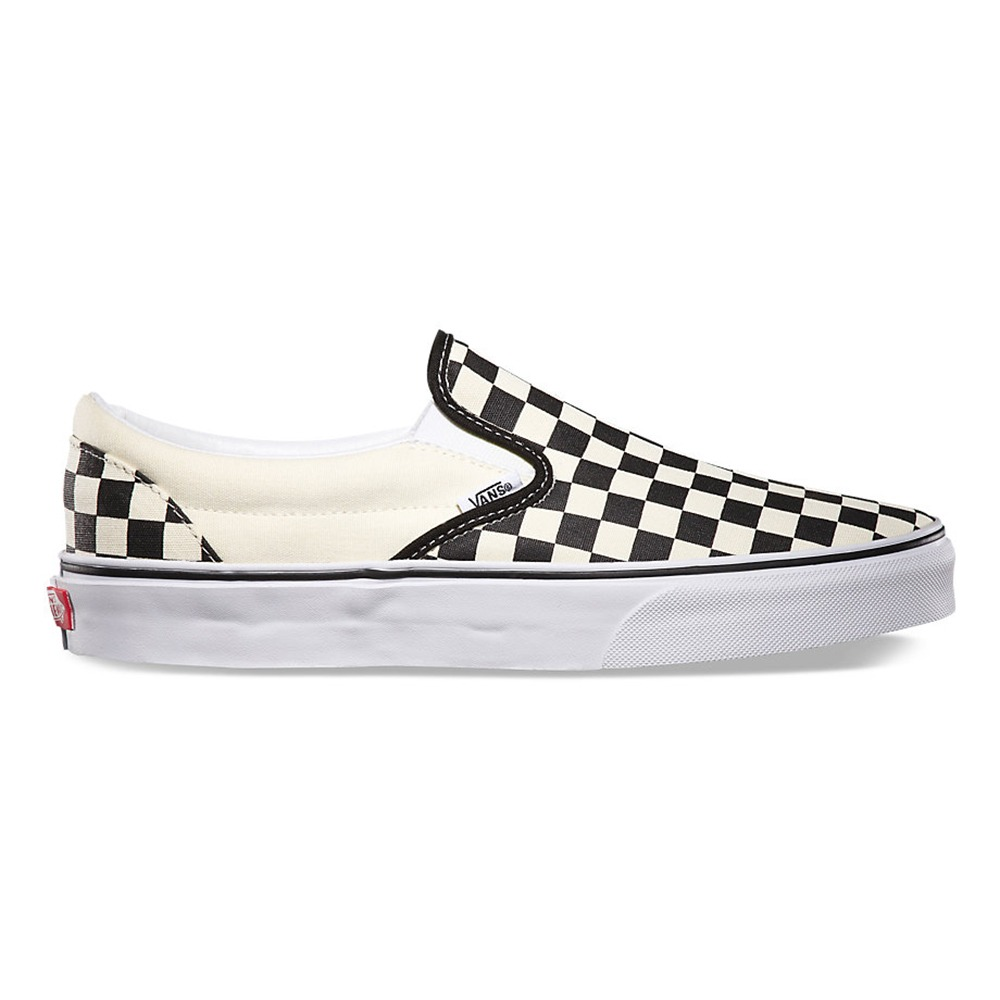 tenis vans classic slip on black white checkerboard l110. Carregando zoom.