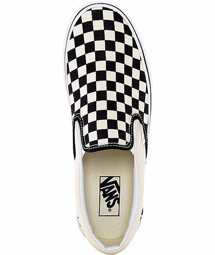 tenis vans classic slip on checkerboard beige / negro