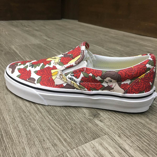 tenis vans classic slip-on disney belle look trendy