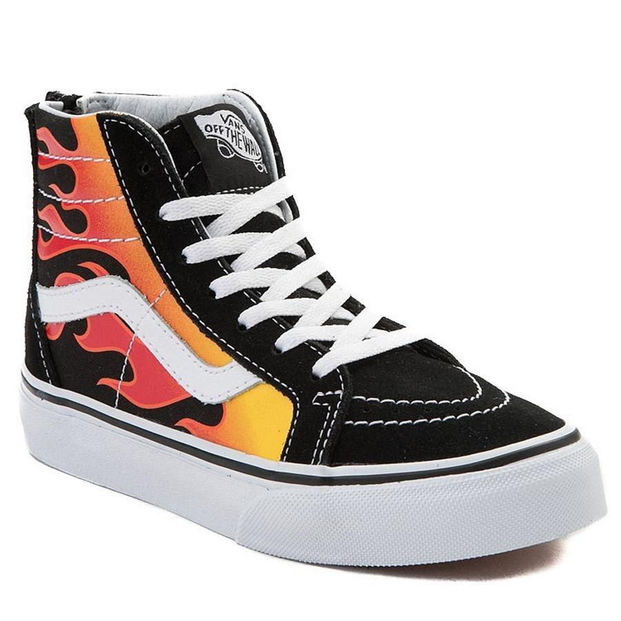 8daa4c495 tenis vans sk8 hi flame negro skate bota niños original. Cargando zoom.