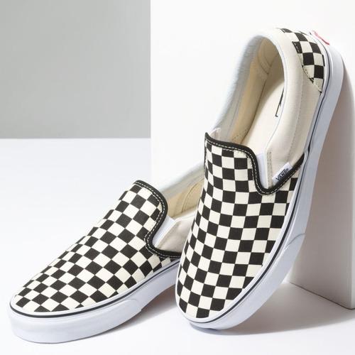 tenis vans slip on checkerboard beige negro cuadros skate