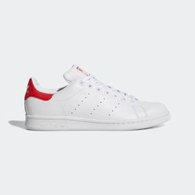 Tenis Zapatilla adidas Stan Smith Blanco Rojo Talla Us8 40.5