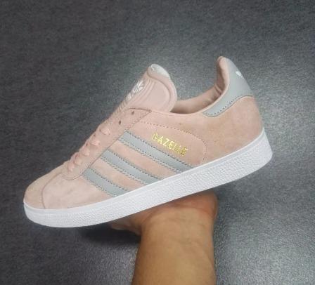adidas gazelle rosa y gris