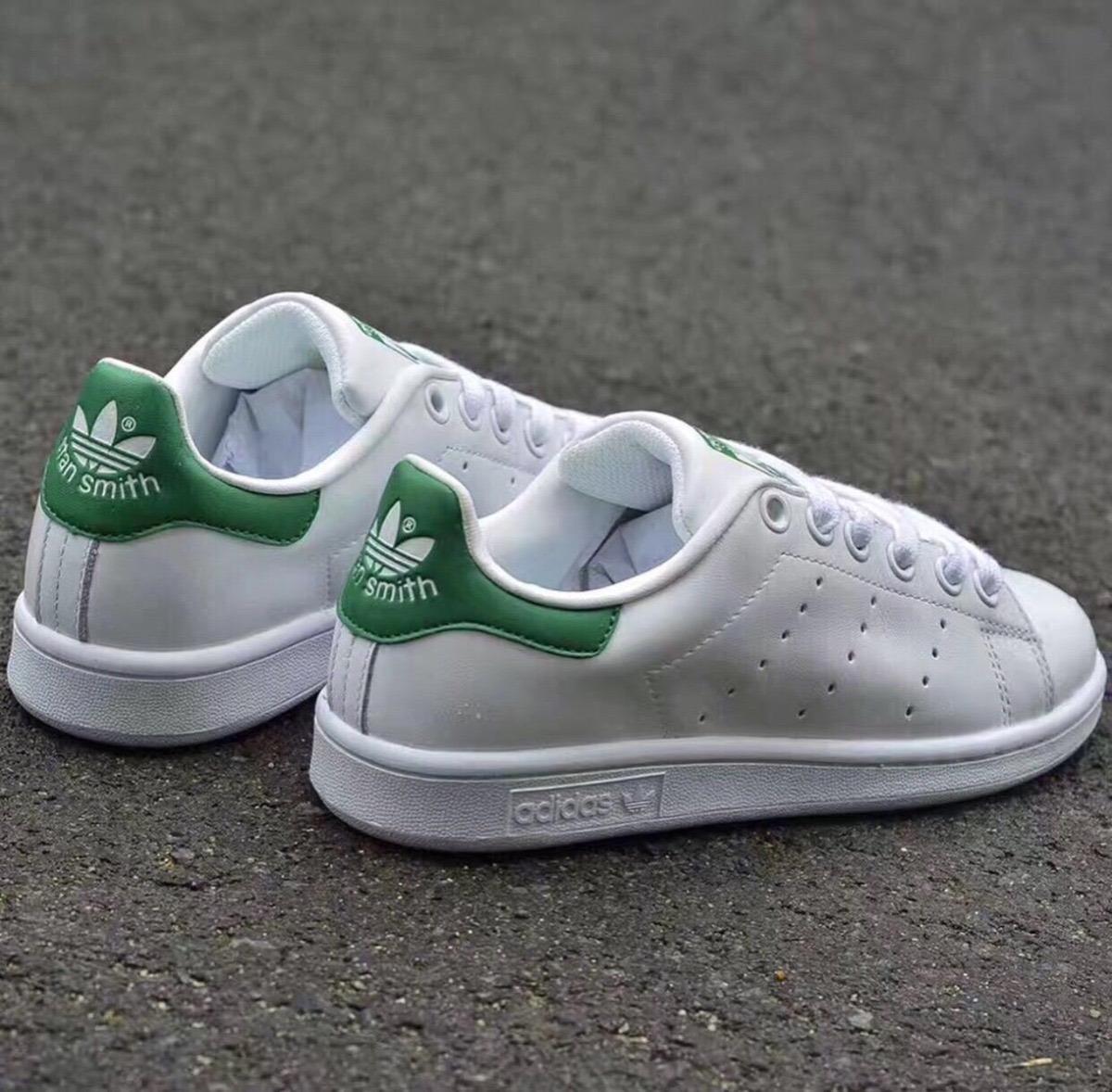 Tenis Zapatillas adidas Stan Smith Blanca Verde Mujer Env Gr