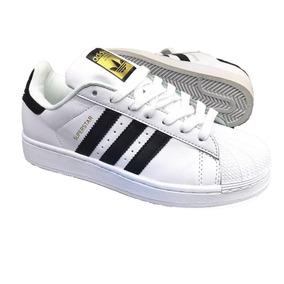 Zapatillas Adidas Superstar Negras Lineas Blancas Tenis en