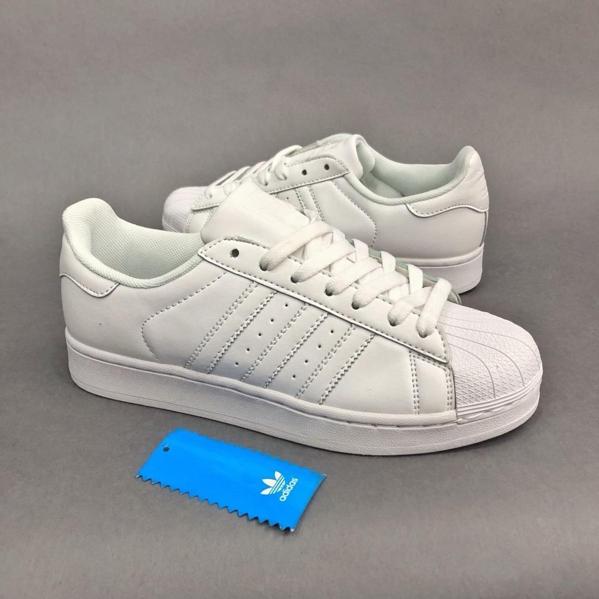 Tenis Zapatillas adidas Superstar Blanca Plateada Mujer -   134.900 ... 65be18a170693