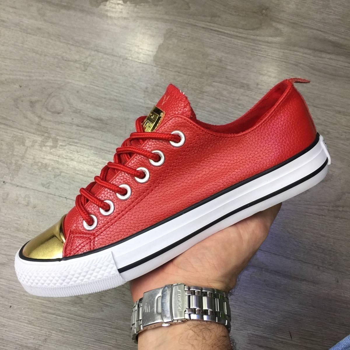 32e98493e Tenis Zapatillas Converse Cuero Roja Dorada Mujer Env G -   119.900 ...