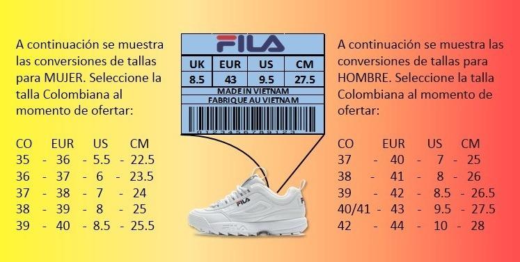 Disruptor Zapatillas Envío Hombre Gratis Tenis Fila Blanca LGUzMVpqS