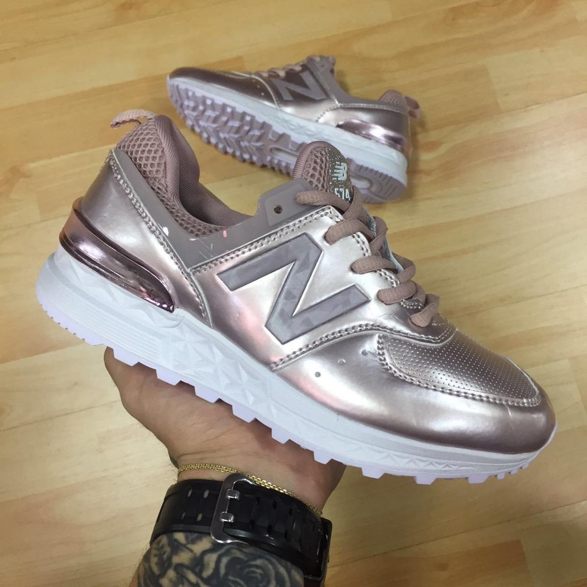 zapatillas new balance chica doradas