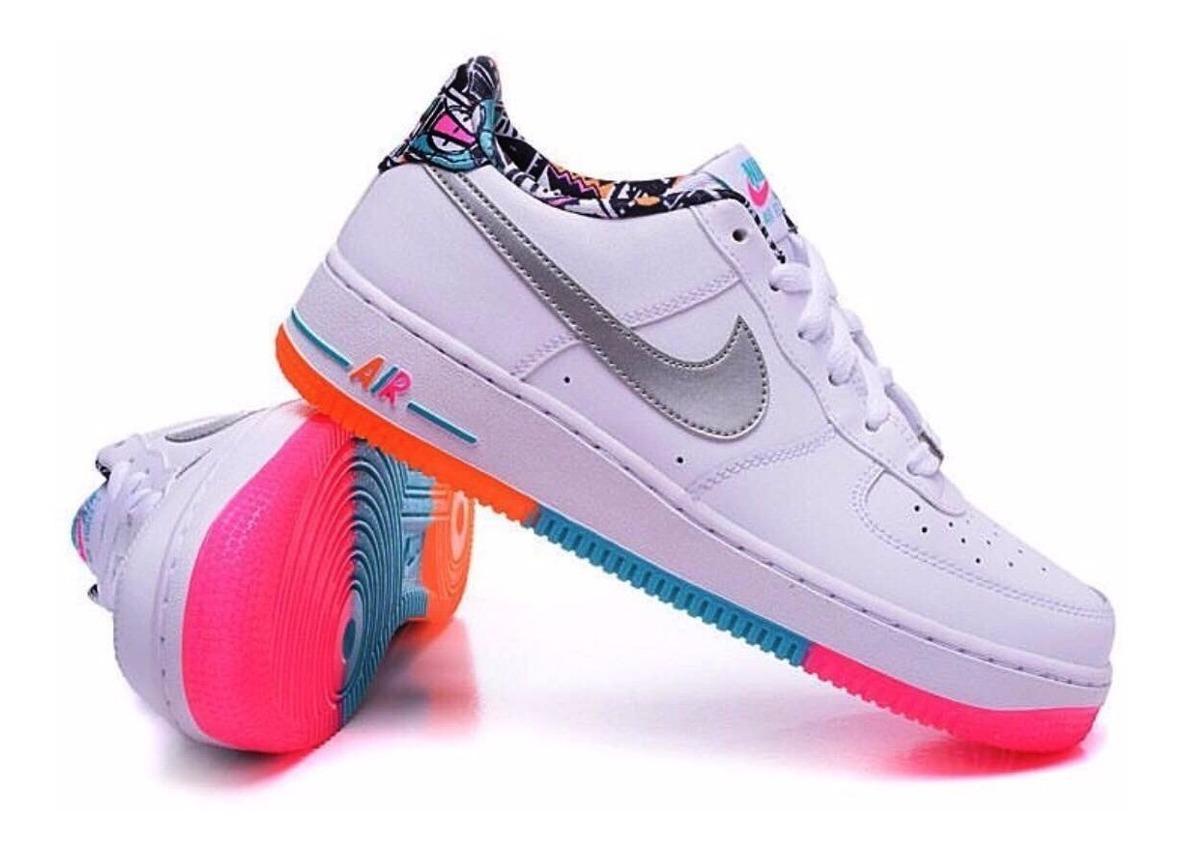 Nike Air Force One De Colores Blanco Mujer Zapatillas Tenis