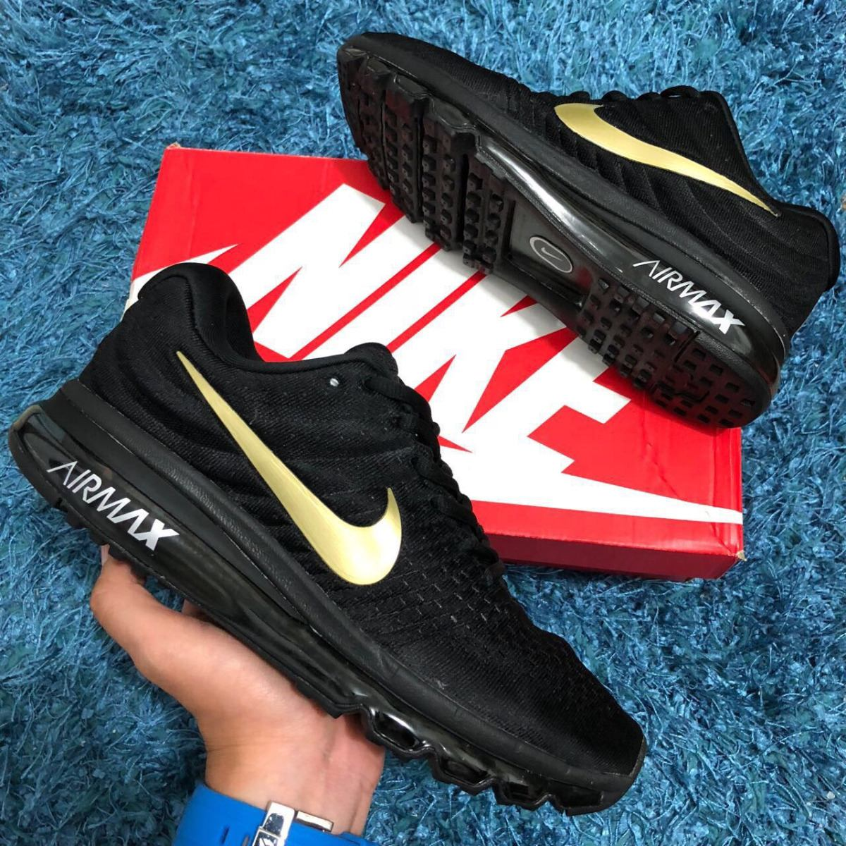 Tenis Zapatillas Nike Air Max 360 2017 Negra Dorada Indicy