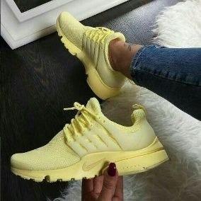 Tenis Zapatillas Nike Air Presto Custom Amarilla Mujer Env G