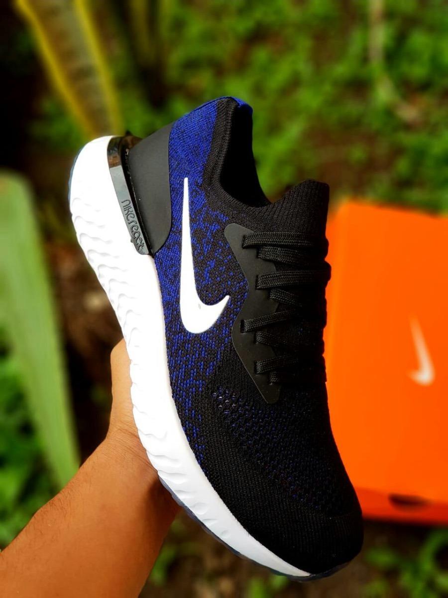 22980588290 ... good tenis zapatillas nike epic react flyknit hombre negra azul. cargando  zoom. 05779 b7457